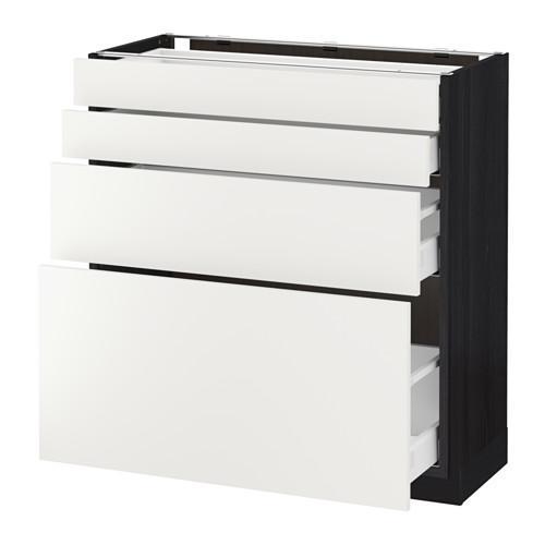 МЕТОД / МАКСИМЕРА Напольн шкаф 4 фронт панели/4 ящика - 80x37 см, Хэггеби белый, под дерево черный
