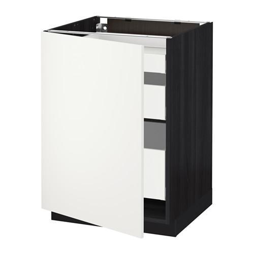 МЕТОД / МАКСИМЕРА Напольный шкаф с 1двр/3ящ - 60x60 см, Хэггеби белый, под дерево черный