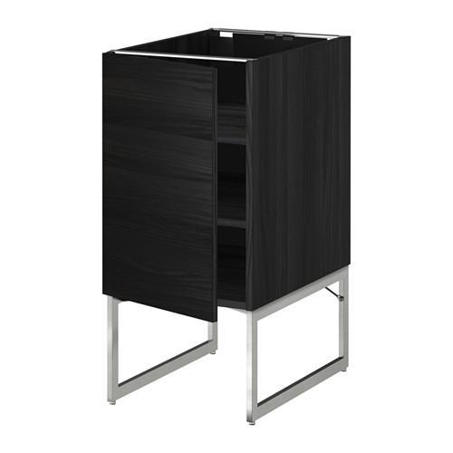 МЕТОД Напольный шкаф с полками - 40x60x60 см, Тингсрид под дерево черный, под дерево черный