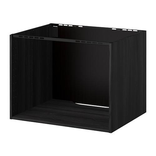 МЕТОД Шкаф для встр варочной панели/мойки - под дерево черный, 80x60x60 см