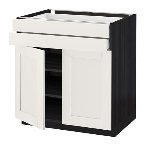 МЕТОД / МАКСИМЕРА Напольный шкаф/2дверцы/2ящика - 80x60 см, Сэведаль белый, под дерево черный