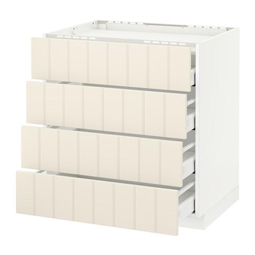 МЕТОД / МАКСИМЕРА Напольн шкаф/4фронт пнл/4ящика - 80x60 см, Хитарп белый с оттенком, белый