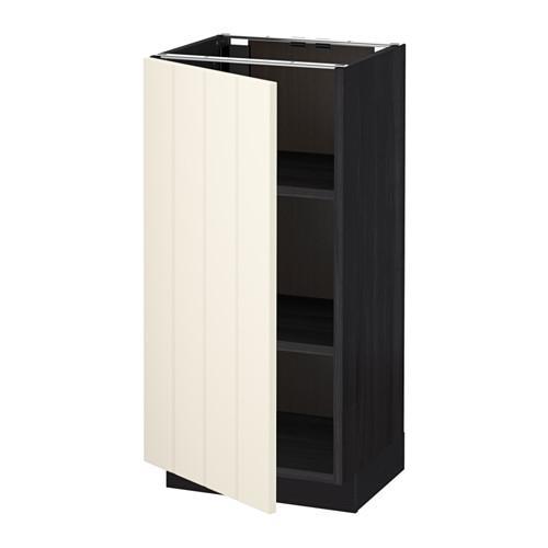 МЕТОД Напольный шкаф с полками - 40x37 см, Хитарп белый с оттенком, под дерево черный
