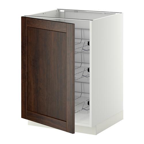 МЕТОД Напольный шкаф с проволочн ящиками - 60x60 см, Эдсерум под дерево коричневый, белый