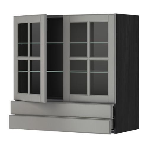 МЕТОД / МАКСИМЕРА Навесной шкаф/2 стек дв/2 ящика - 80x80 см, Будбин серый, под дерево черный