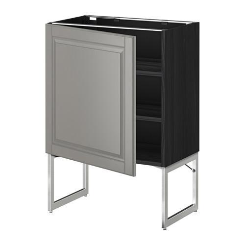 МЕТОД Напольный шкаф с полками - 60x37x60 см, Будбин серый, под дерево черный