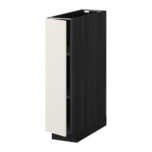 МЕТОД Напольный шкаф с полками - 20x60 см, Веддинге белый, под дерево черный