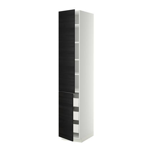 МЕТОД / МАКСИМЕРА Высокий шкаф+полки/3 ящика/2 дверцы - 40x60x220 см, Тингсрид под дерево черный, белый