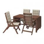 ÄPPLARÖ tabel + scaune 4, d / pata de gradina maro / hollo bej