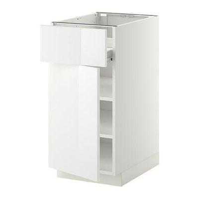 МЕТОД / ФОРВАРА Напольн шкаф с полкой/ящиком/дверью - белый, Рингульт глянцевый белый, 40x60 см