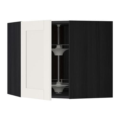 МЕТОД Угл нвсн шкф с вращающ секц - 68x60 см, Сэведаль белый, под дерево черный