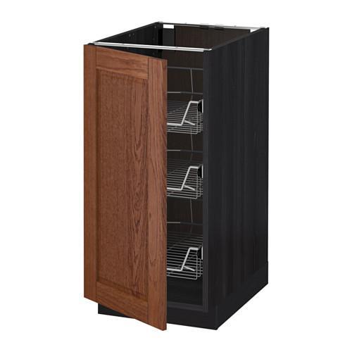МЕТОД Напольный шкаф с проволочн ящиками - 40x60 см, Филипстад коричневый, под дерево черный