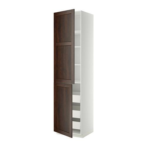 МЕТОД / МАКСИМЕРА Высокий шкаф+полки/3 ящика/2 дверцы - 60x60x240 см, Эдсерум под дерево коричневый, белый