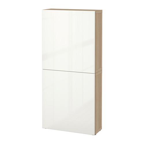 БЕСТО Навесной шкаф с 2 дверями - под беленый дуб/Сельсвикен глянцевый/белый