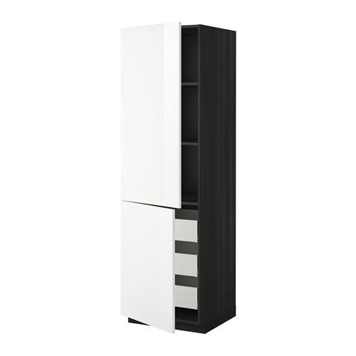 МЕТОД / МАКСИМЕРА Высокий шкаф+полки/3 ящика/2 дверцы - 60x60x200 см, Рингульт глянцевый белый, под дерево черный