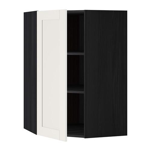 МЕТОД Угловой навесной шкаф с полками - 68x100 см, Сэведаль белый, под дерево черный