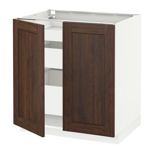 МЕТОД / МАКСИМЕРА Напольный шкаф с 2дверцами/3ящиками - Эдсерум под дерево коричневый, белый