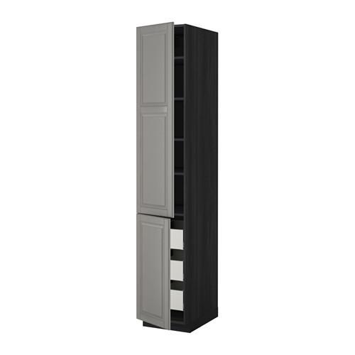 МЕТОД / МАКСИМЕРА Высокий шкаф+полки/3 ящика/2 дверцы - 40x60x220 см, Будбин серый, под дерево черный