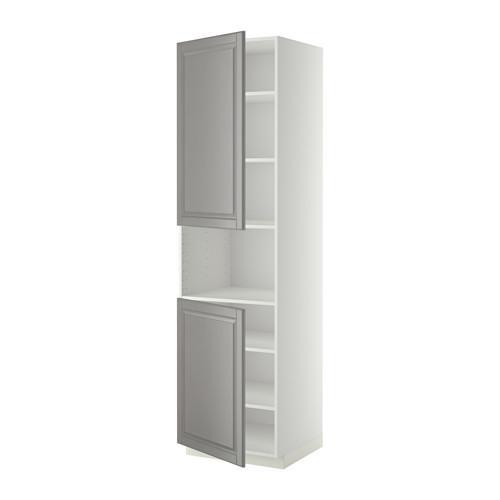 МЕТОД Выс шкаф д/СВЧ/2 дверцы/полки - 60x60x220 см, Будбин серый, белый