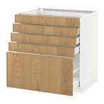 МЕТОД / МАКСИМЕРА Напольный шкаф с 5 ящиками - 80x60 см, Экестад дуб, белый