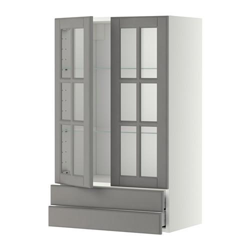 МЕТОД / МАКСИМЕРА Навесной шкаф/2 стек дв/2 ящика - 60x100 см, Будбин серый, белый
