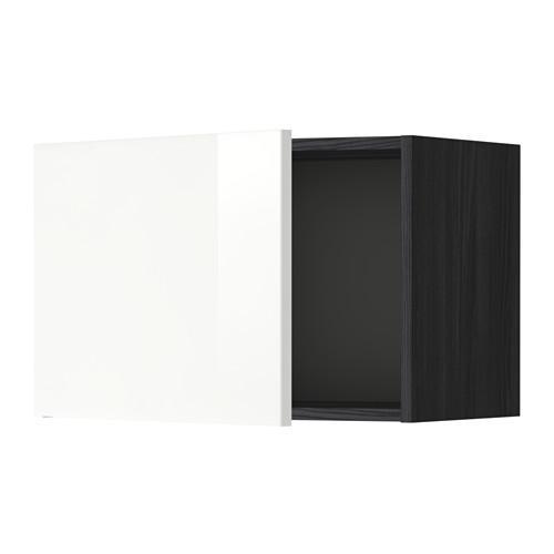 МЕТОД Шкаф навесной - 60x40 см, Рингульт глянцевый белый, под дерево черный