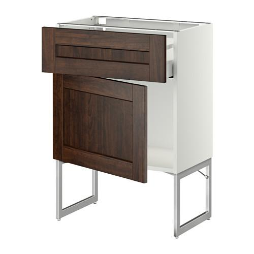 МЕТОД / МАКСИМЕРА Напольный шкаф с ящиком/дверью - 60x37x60 см, Эдсерум под дерево коричневый, белый