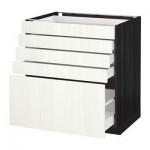 МЕТОД / МАКСИМЕРА Напольный шкаф с 5 ящиками - 80x60 см, Росдаль белый ясень, под дерево черный