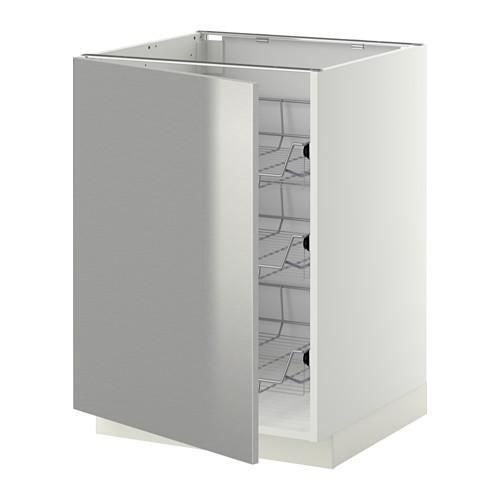 МЕТОД Напольный шкаф с проволочн ящиками - 60x60 см, Гревста нержавеющ сталь, белый