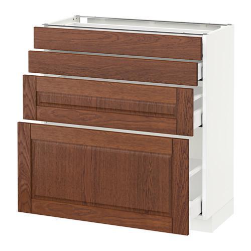 МЕТОД / МАКСИМЕРА Напольн шкаф 4 фронт панели/4 ящика - 80x37 см, Филипстад коричневый, белый