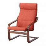 ПОЭНГ Кресло - классический коричневый, Шифтебу темно-оранжевый