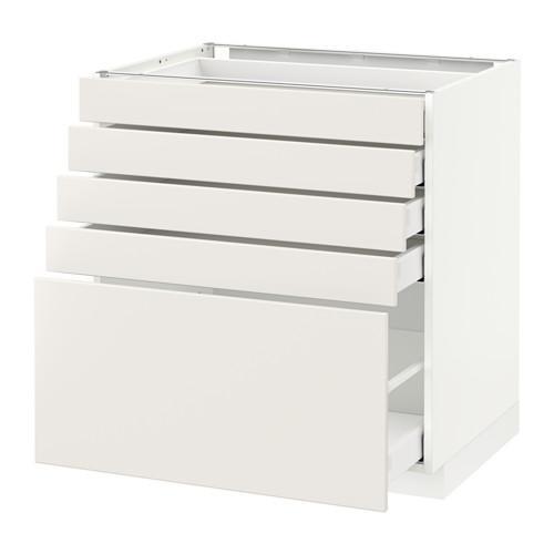 МЕТОД / МАКСИМЕРА Напольный шкаф с 5 ящиками - 80x60 см, Веддинге белый, белый