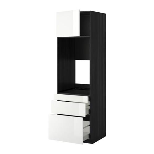 МЕТОД / МАКСИМЕРА Выс шкаф д/двойн духовки/3ящ/дверца - 60x60x200 см, Рингульт глянцевый белый, под дерево черный