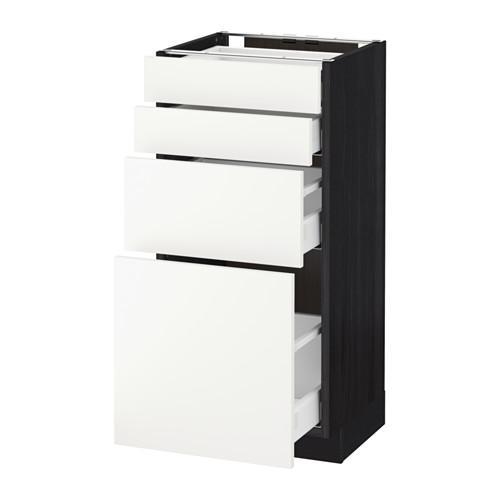 МЕТОД / МАКСИМЕРА Напольн шкаф 4 фронт панели/4 ящика - 40x37 см, Хэггеби белый, под дерево черный