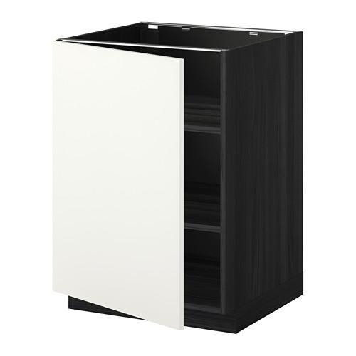 МЕТОД Напольный шкаф с полками - 60x60 см, Хэггеби белый, под дерево черный
