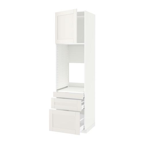 МЕТОД / МАКСИМЕРА Выс шкаф д/двойн духовки/3ящ/дверца - белый, Сэведаль белый, 60x60x220 см