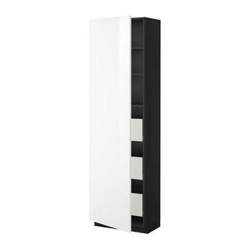 МЕТОД / МАКСИМЕРА Высокий шкаф с ящиками - 60x37x200 см, Рингульт глянцевый белый, под дерево черный