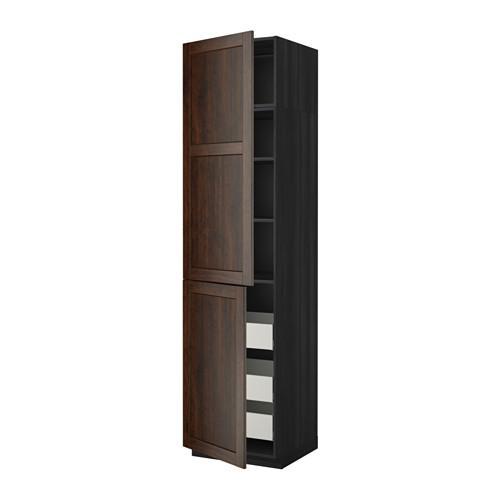 МЕТОД / МАКСИМЕРА Высокий шкаф+полки/3 ящика/2 дверцы - 60x60x240 см, Эдсерум под дерево коричневый, под дерево черный