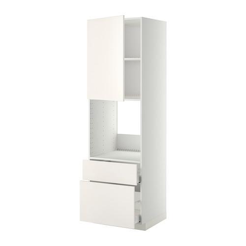 МЕТОД / МАКСИМЕРА Высок шкаф д духов+дверь/2 ящика - 60x60x200 см, Веддинге белый, белый