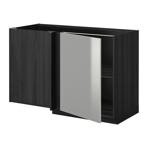 МЕТОД Угловой напольный шкаф с полкой - Гревста нержавеющ сталь, под дерево черный