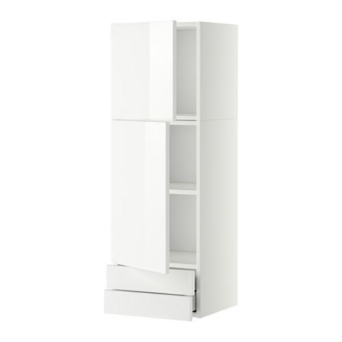 МЕТОД / МАКСИМЕРА Навесной шкаф/2дверцы/2ящика - 40x120 см, Рингульт глянцевый белый, белый