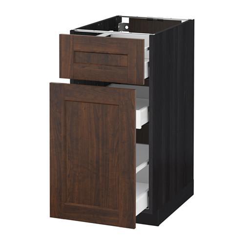 МЕТОД / МАКСИМЕРА Напольн шкаф/выдвижн секц/ящик - 40x60 см, Эдсерум под дерево коричневый, под дерево черный