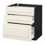 МЕТОД / МАКСИМЕРА Напольный шкаф с 3 ящиками - 80x60 см, Будбин белый с оттенком, под дерево черный
