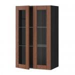 МЕТОД Навесной шкаф с полками/2 стекл дв - 60x100 см, Филипстад коричневый, под дерево черный