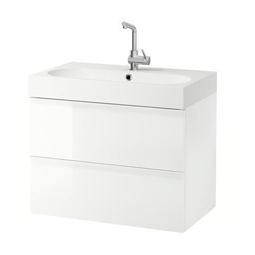 BRÅVIKEN / GODMORGON washbasin cabinet with 2 drawer gloss white