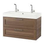 GODMORGON / Bråviken cabinet sinks with 2 drawers - walnut effect