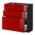 МЕТОД / ФОРВАРА Напольный шкаф с 3 ящиками - 80x37 см, Рингульт глянцевый красный, под дерево черный