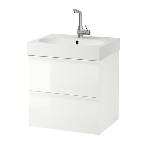 Mobile lavello BRÅVIKEN / GODMORGON con cassetto 2 bianco lucido 61x49x68 cm