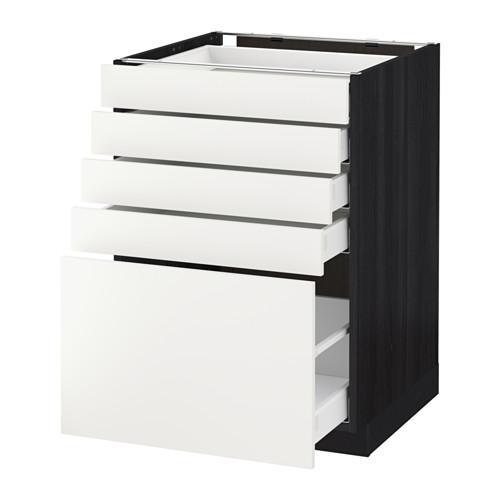 МЕТОД / МАКСИМЕРА Напольный шкаф с 5 ящиками - 60x60 см, Хэггеби белый, под дерево черный