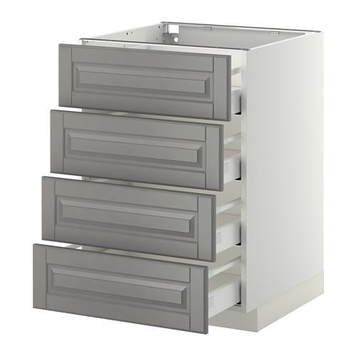МЕТОД / МАКСИМЕРА Напольн шкаф 4 фронт панели/4 ящика - 60x60 см, Будбин серый, белый